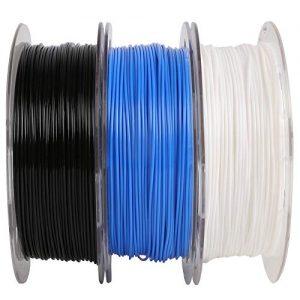 175mm PLA Filament Bundle 3 Spools Pack WhiteBlackBlue Widely Compatible