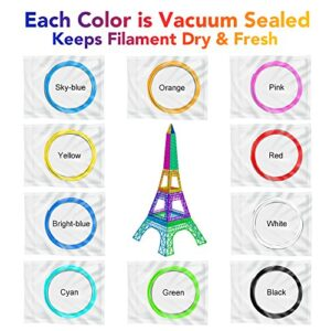 Tecboss 3D Pen Filament 10 Color 160 Feet PLA Filament