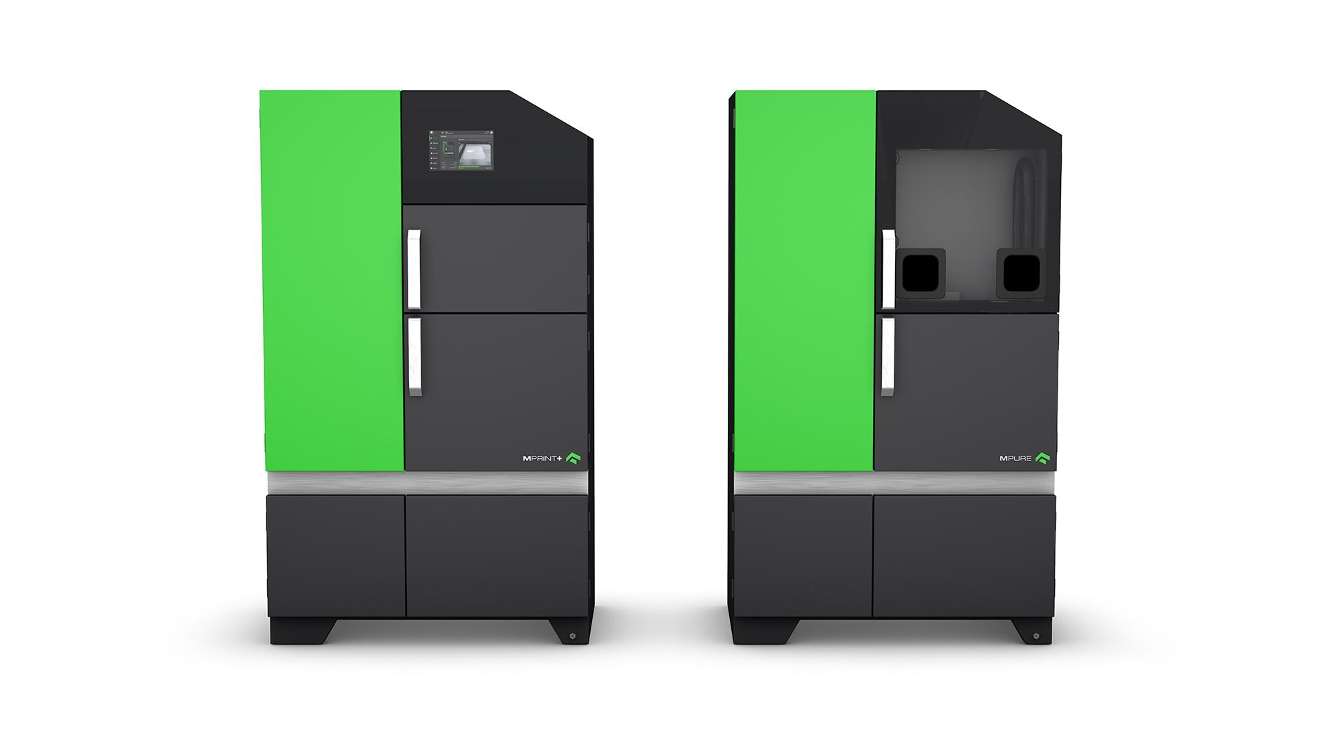 The MPRINT+ 3D printer and MPURE powder handling system. Image via One Click Metal.